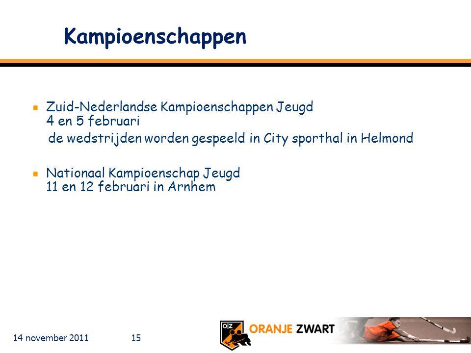 Kampioenschappen Zuid-Nederlandse Kampioenschappen Jeugd 4 en 5 februari. de wedstrijden worden gespeeld in City sporthal in Helmond.