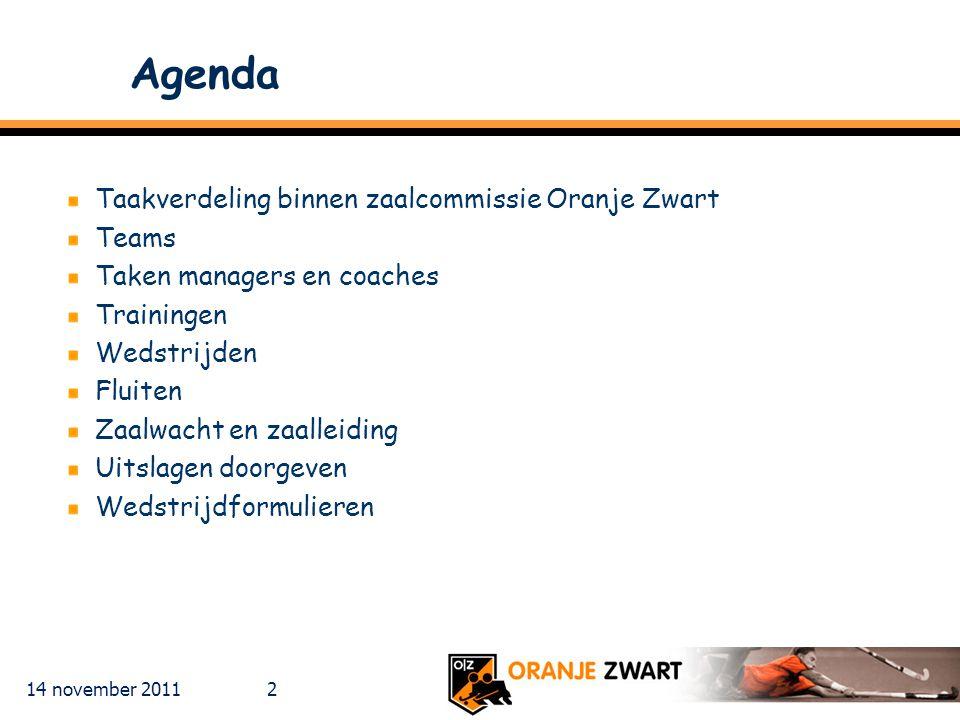 Agenda Taakverdeling binnen zaalcommissie Oranje Zwart Teams