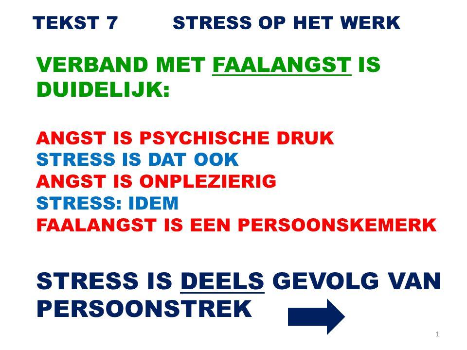 STRESS IS DEELS GEVOLG VAN PERSOONSTREK