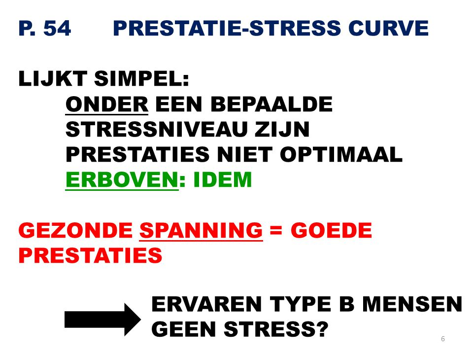 P. 54 PRESTATIE-STRESS CURVE