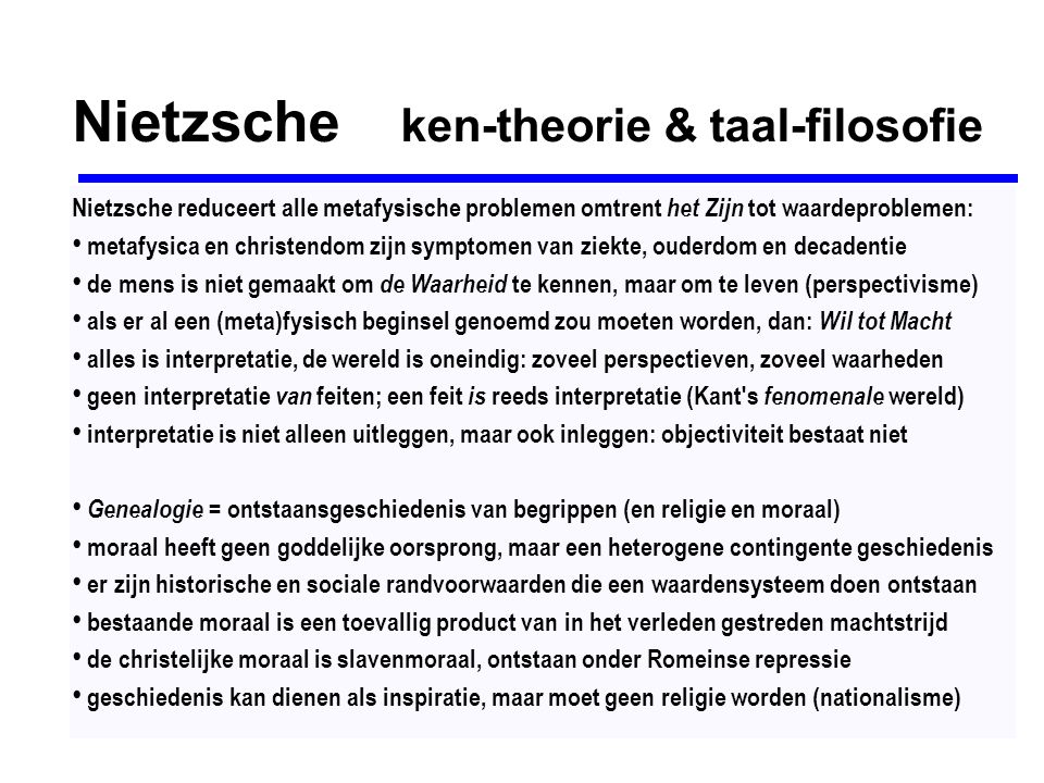 Nietzsche ken-theorie & taal-filosofie