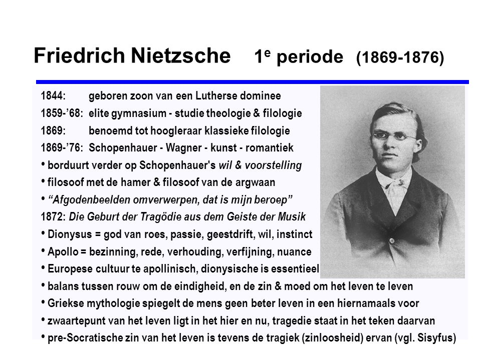 Friedrich Nietzsche 1e periode (1869-1876)