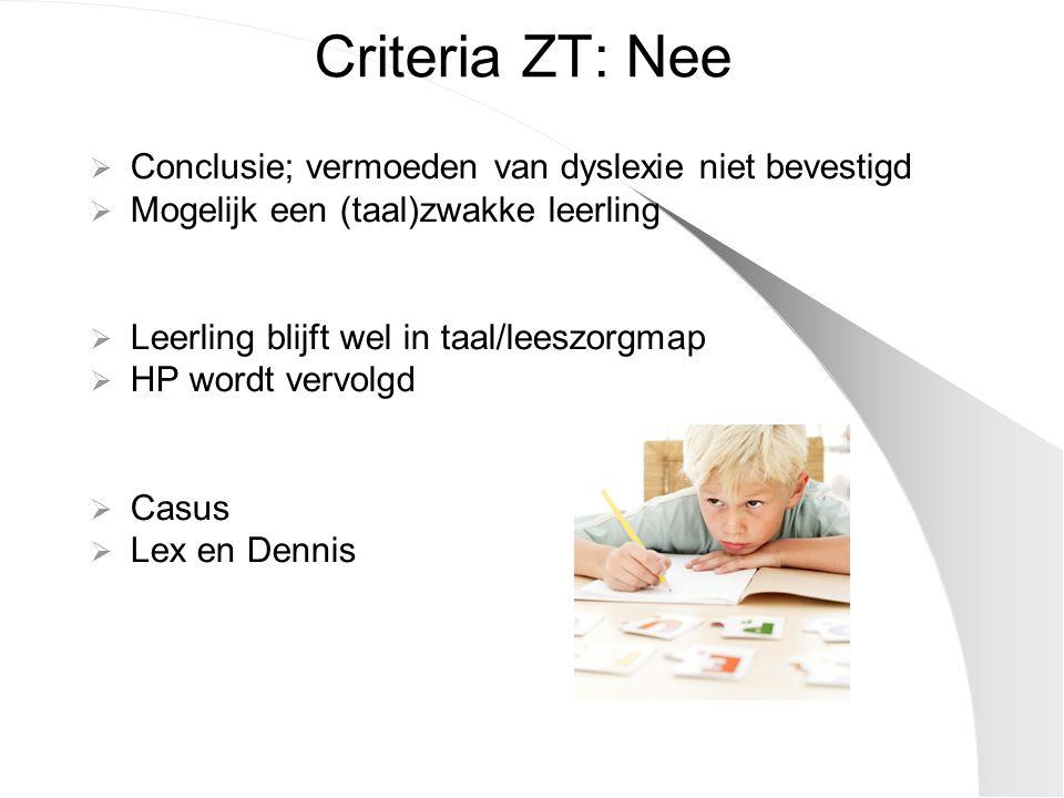 Criteria ZT: Nee Conclusie; vermoeden van dyslexie niet bevestigd