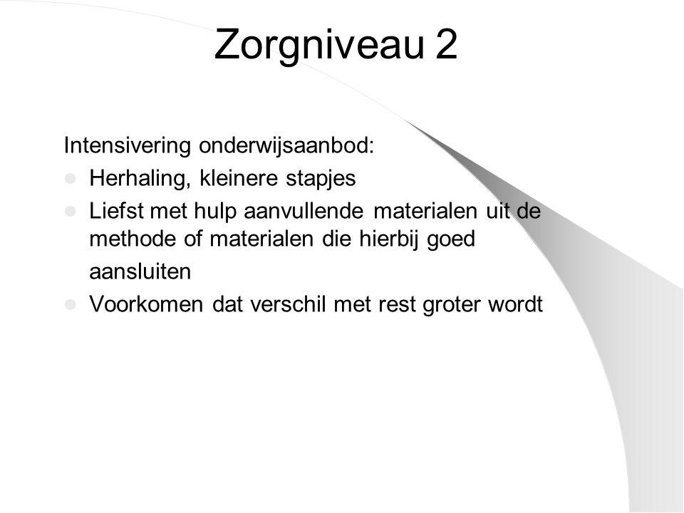 Zorgniveau 2 Intensivering onderwijsaanbod: