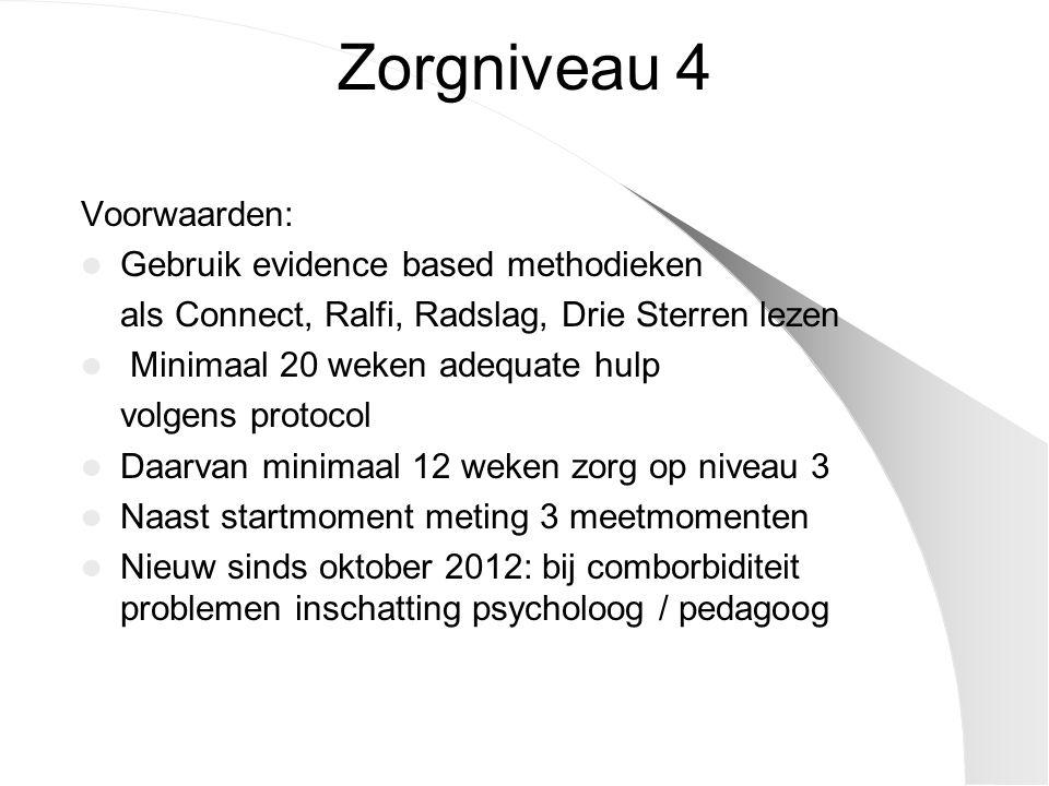 Zorgniveau 4 Voorwaarden: Gebruik evidence based methodieken