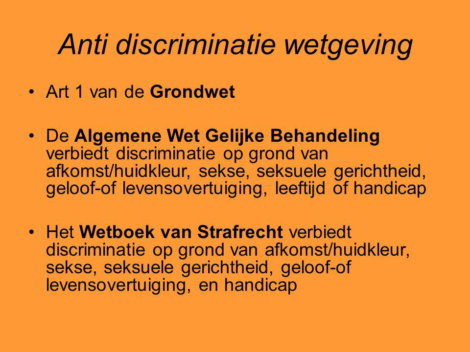 Anti discriminatie wetgeving