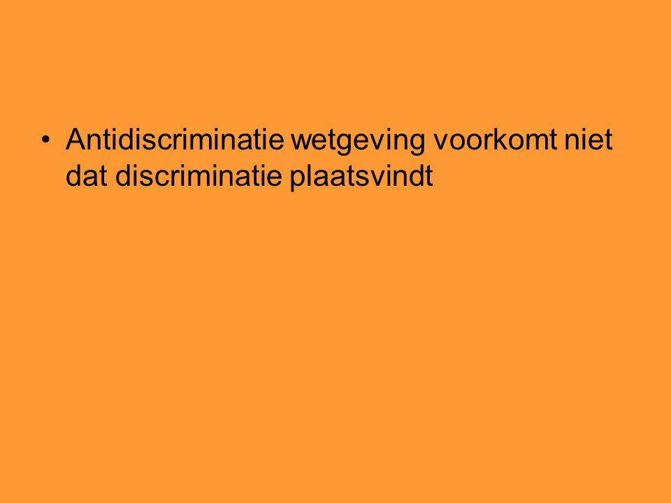 Antidiscriminatie wetgeving voorkomt niet dat discriminatie plaatsvindt