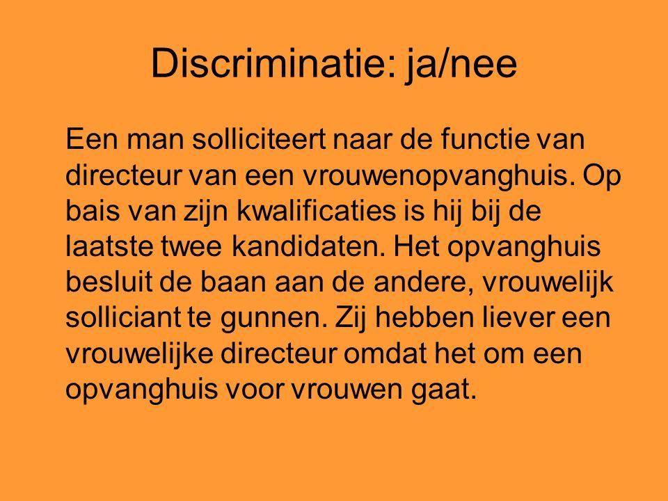 Discriminatie: ja/nee