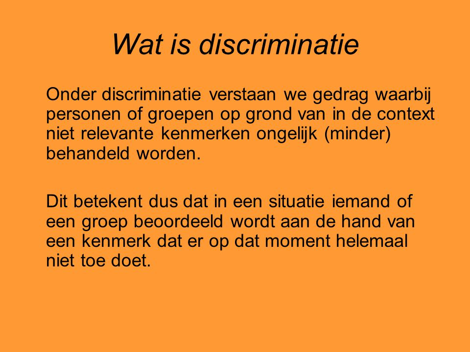 Wat is discriminatie