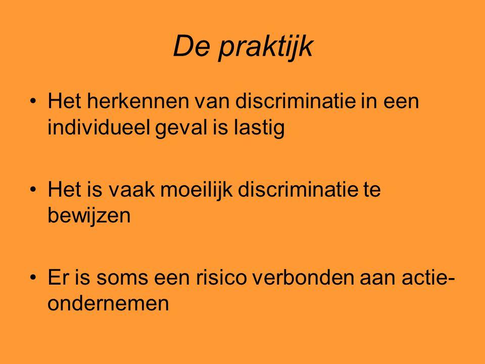 De praktijk Het herkennen van discriminatie in een individueel geval is lastig. Het is vaak moeilijk discriminatie te bewijzen.