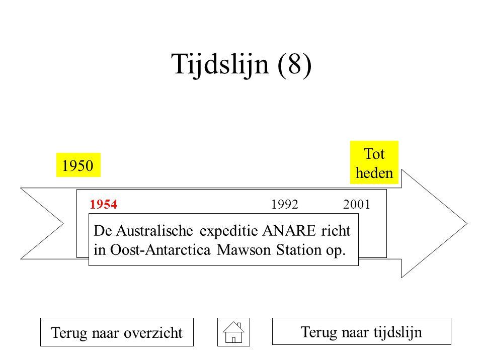 Tijdslijn (8) Tot heden 1950 De Australische expeditie ANARE richt