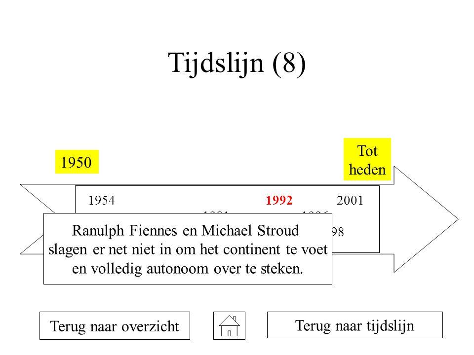 Tijdslijn (8) Tot heden 1950 Ranulph Fiennes en Michael Stroud