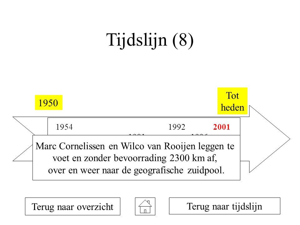Tijdslijn (8) Tot heden. 1950. 1954. 1992. 2001. 1981. 1996. 1957. Marc Cornelissen en Wilco van Rooijen leggen te.