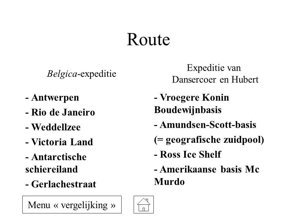 Route - Antwerpen - Rio de Janeiro - Weddellzee - Victoria Land