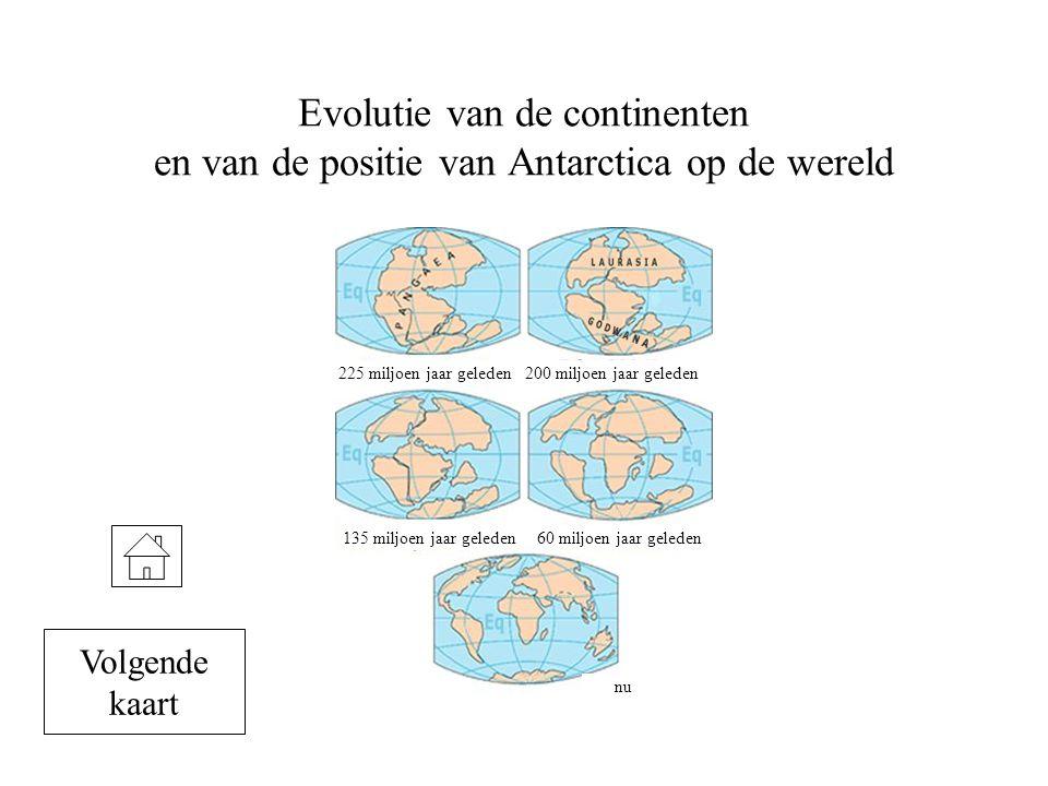 Evolutie van de continenten en van de positie van Antarctica op de wereld