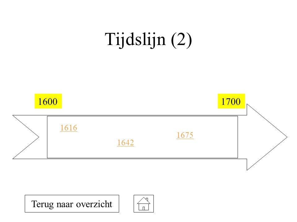 Tijdslijn (2) 1600 1700 1616 1675 1642 Terug naar overzicht