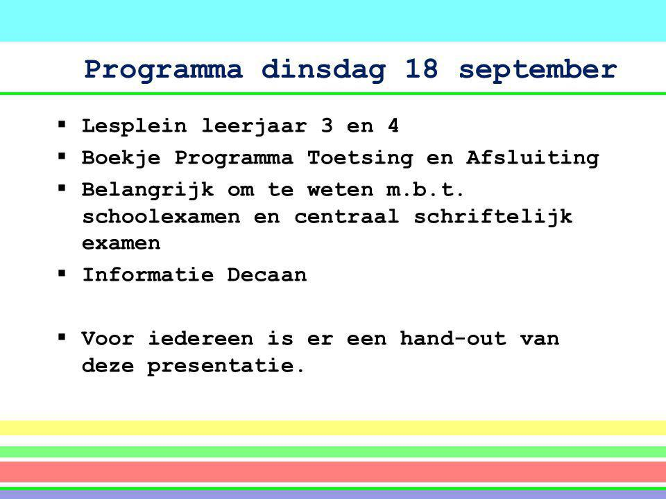 Programma dinsdag 18 september