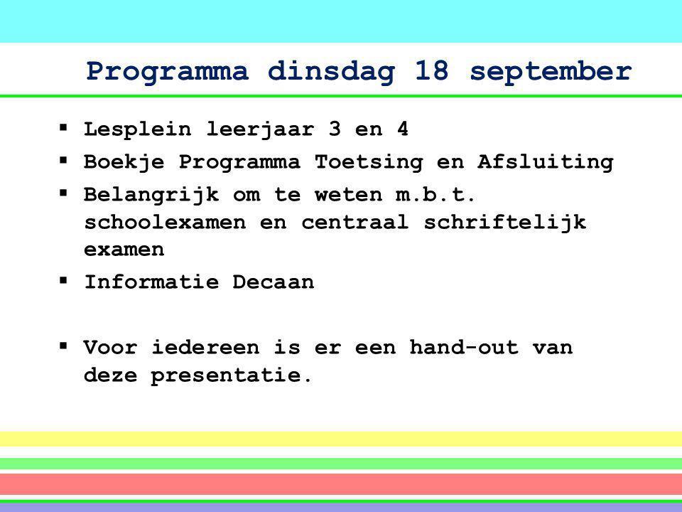 Programma dinsdag 18 september