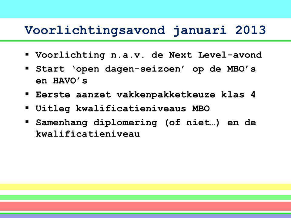 Voorlichtingsavond januari 2013