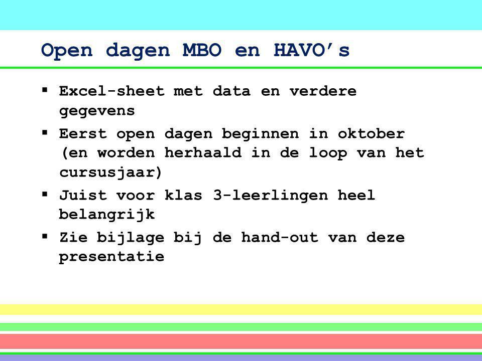 Open dagen MBO en HAVO's