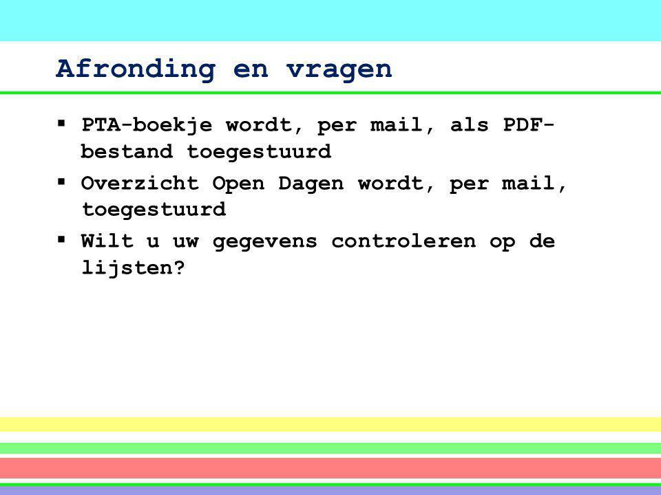 Afronding en vragen PTA-boekje wordt, per mail, als PDF-bestand toegestuurd. Overzicht Open Dagen wordt, per mail, toegestuurd.