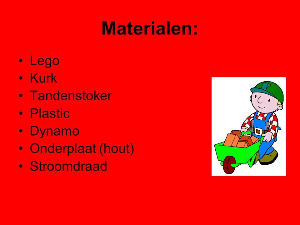Materialen: Lego Kurk Tandenstoker Plastic Dynamo Onderplaat (hout)