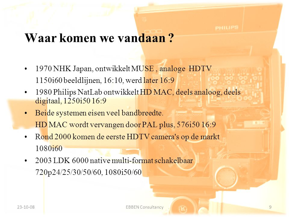 Waar komen we vandaan 1970 NHK Japan, ontwikkelt MUSE , analoge HDTV