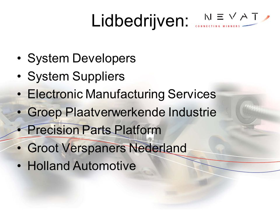 Lidbedrijven: System Developers System Suppliers