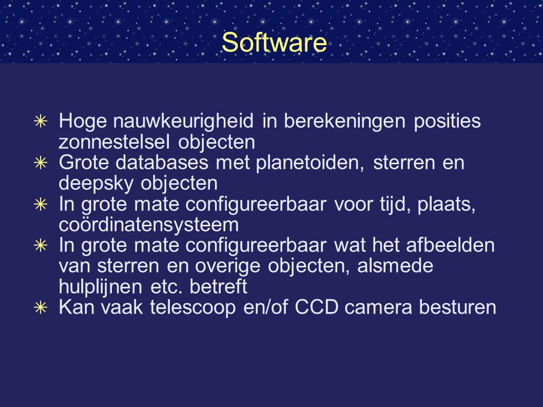 Software Hoge nauwkeurigheid in berekeningen posities zonnestelsel objecten. Grote databases met planetoiden, sterren en deepsky objecten.