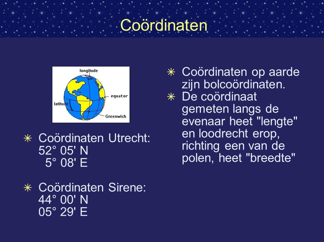Coördinaten Coördinaten op aarde zijn bolcoördinaten.