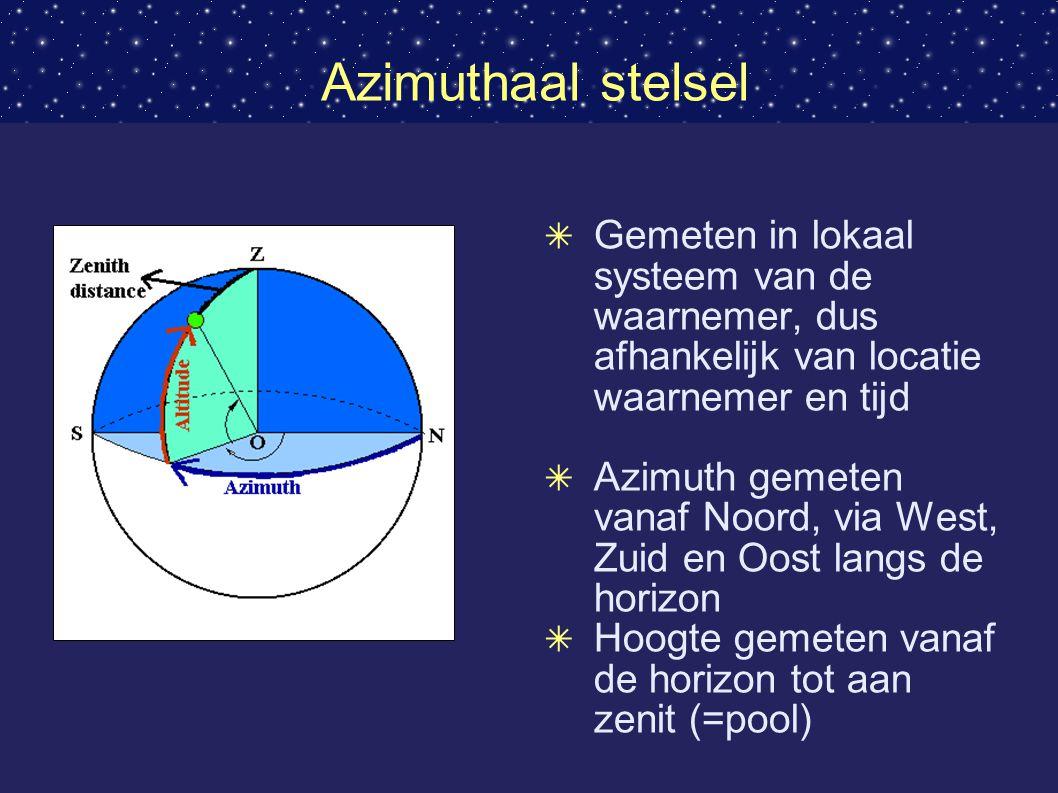Azimuthaal stelsel Gemeten in lokaal systeem van de waarnemer, dus afhankelijk van locatie waarnemer en tijd.