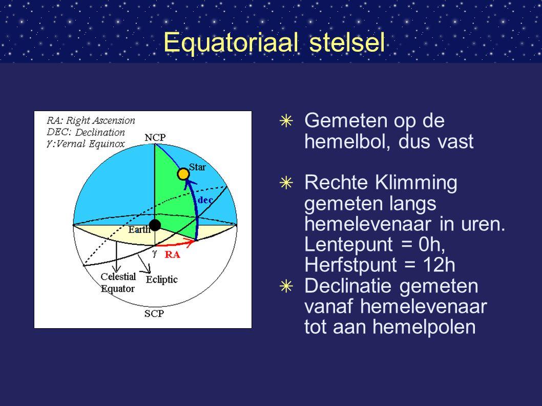 Equatoriaal stelsel Gemeten op de hemelbol, dus vast