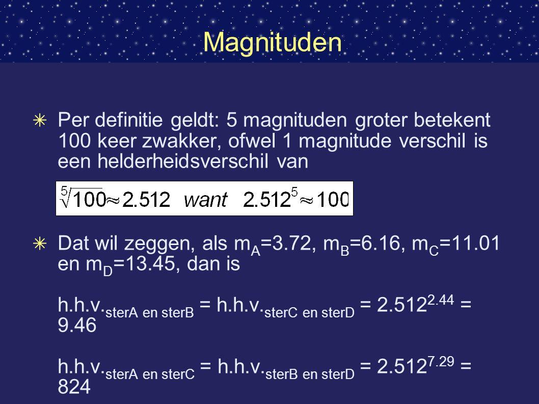 Magnituden Per definitie geldt: 5 magnituden groter betekent 100 keer zwakker, ofwel 1 magnitude verschil is een helderheidsverschil van.