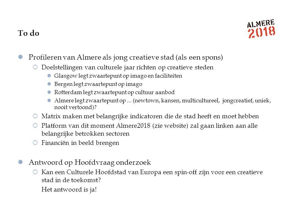 To do Profileren van Almere als jong creatieve stad (als een spons)