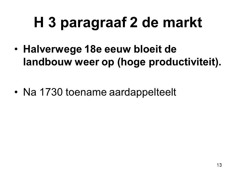 H 3 paragraaf 2 de markt Halverwege 18e eeuw bloeit de landbouw weer op (hoge productiviteit).