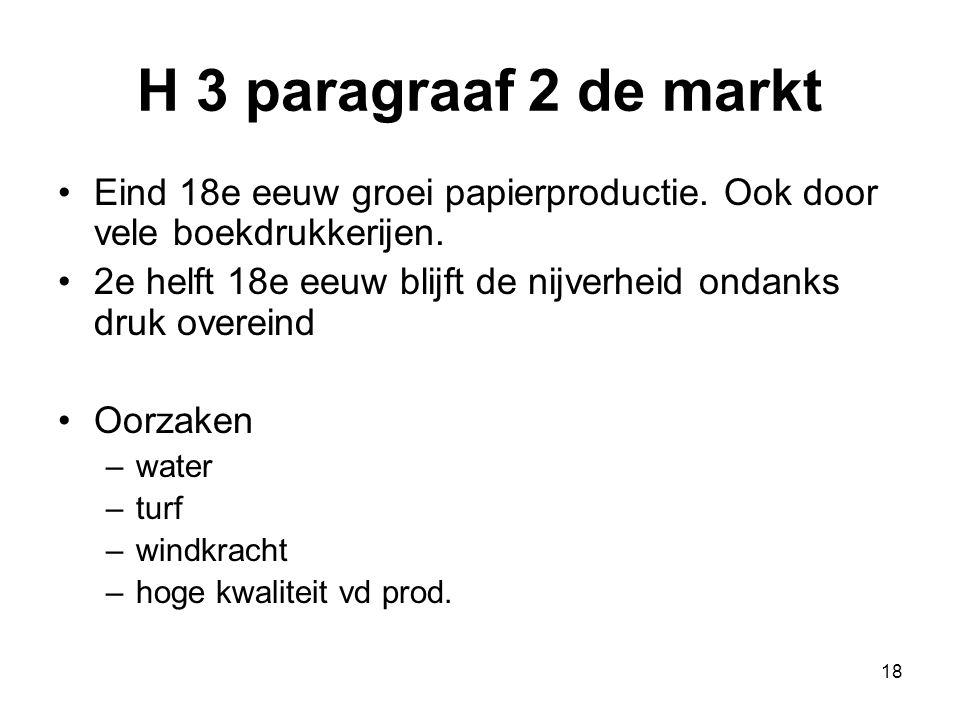 H 3 paragraaf 2 de markt Eind 18e eeuw groei papierproductie. Ook door vele boekdrukkerijen.