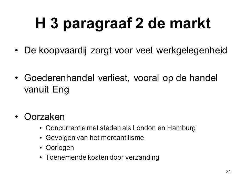 H 3 paragraaf 2 de markt De koopvaardij zorgt voor veel werkgelegenheid. Goederenhandel verliest, vooral op de handel vanuit Eng.