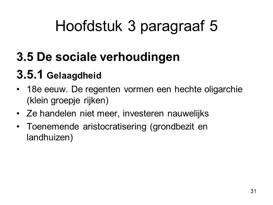 Hoofdstuk 3 paragraaf 5 3.5 De sociale verhoudingen 3.5.1 Gelaagdheid
