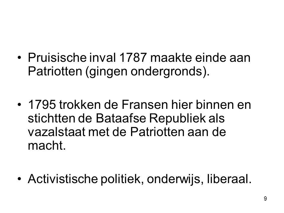 Pruisische inval 1787 maakte einde aan Patriotten (gingen ondergronds).