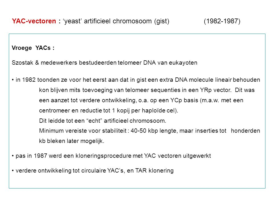 YAC-vectoren : 'yeast' artificieel chromosoom (gist) (1982-1987)