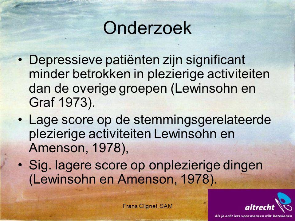 Onderzoek Depressieve patiënten zijn significant minder betrokken in plezierige activiteiten dan de overige groepen (Lewinsohn en Graf 1973).