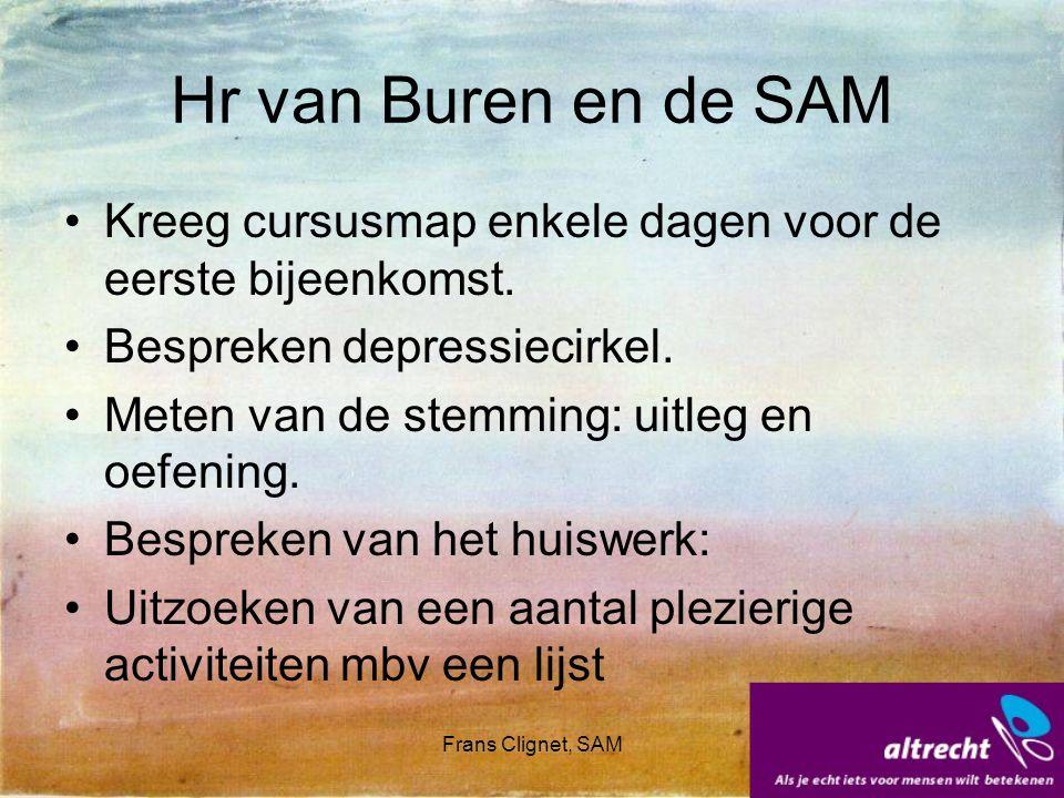 Hr van Buren en de SAM Kreeg cursusmap enkele dagen voor de eerste bijeenkomst. Bespreken depressiecirkel.