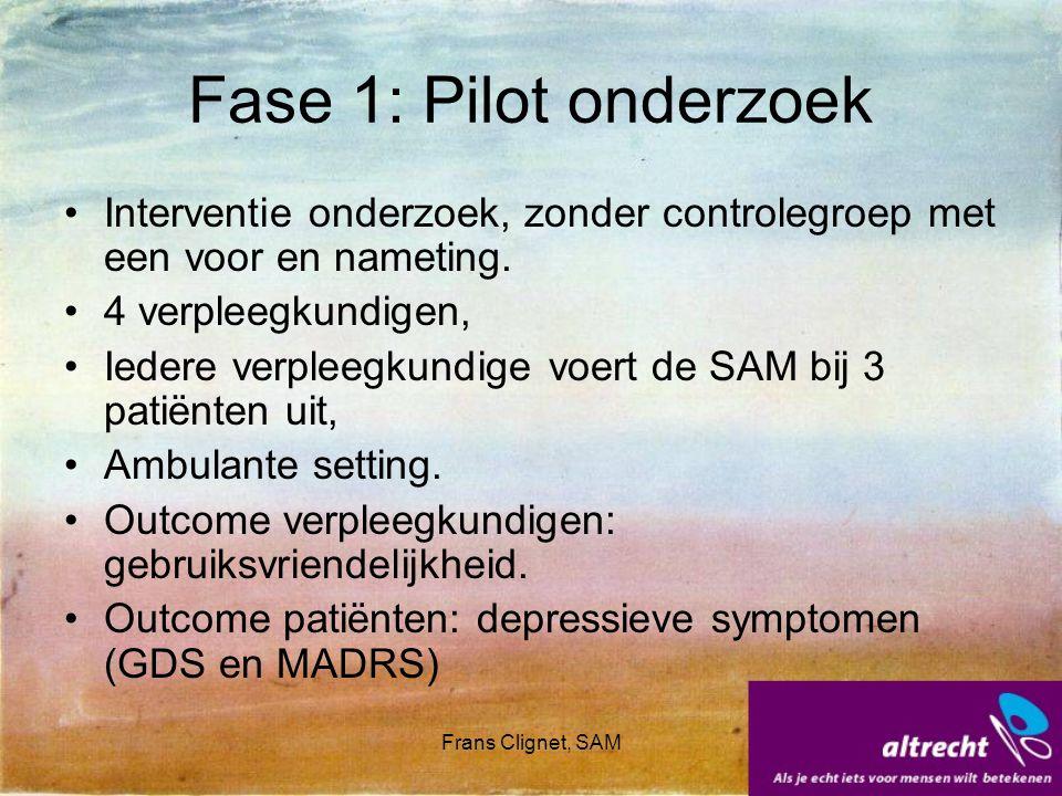 Fase 1: Pilot onderzoek Interventie onderzoek, zonder controlegroep met een voor en nameting. 4 verpleegkundigen,