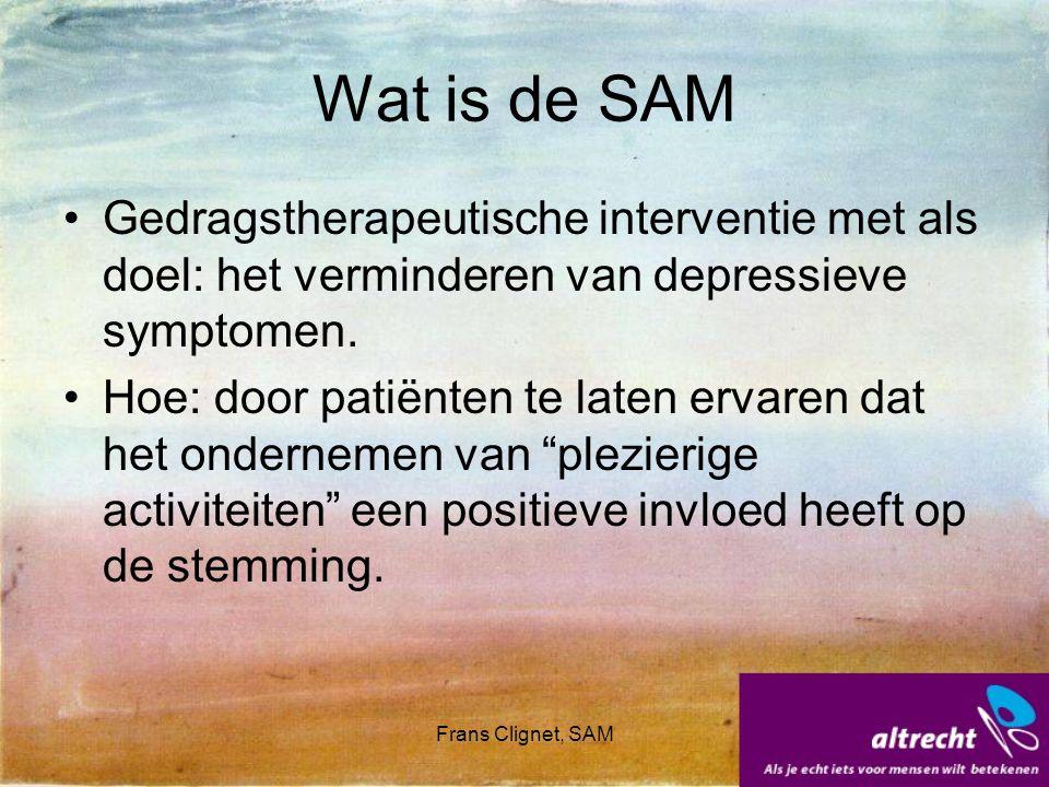 Wat is de SAM Gedragstherapeutische interventie met als doel: het verminderen van depressieve symptomen.