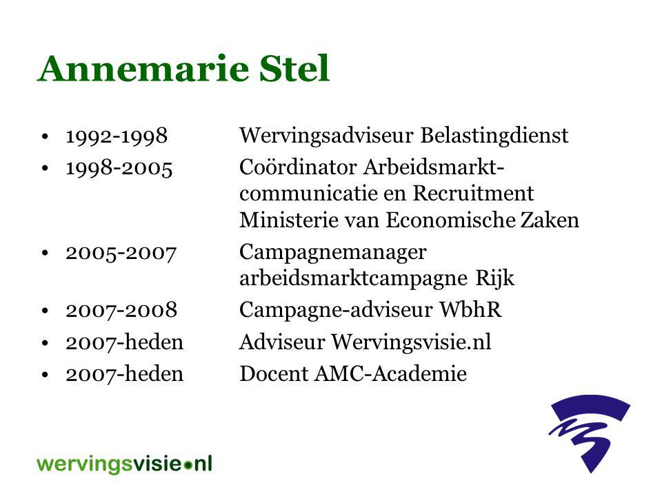 Annemarie Stel 1992-1998 Wervingsadviseur Belastingdienst
