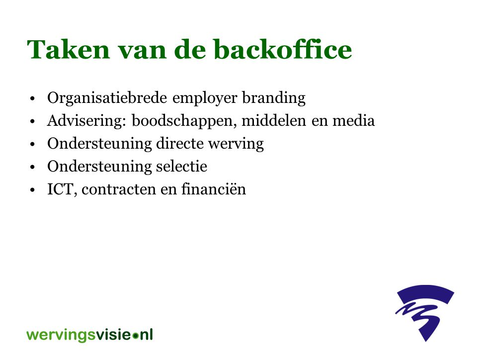 Taken van de backoffice