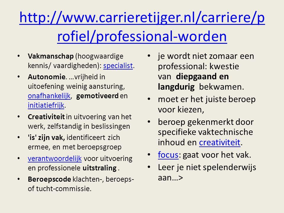 http://www.carrieretijger.nl/carriere/profiel/professional-worden Vakmanschap (hoogwaardige kennis/ vaardigheden): specialist.