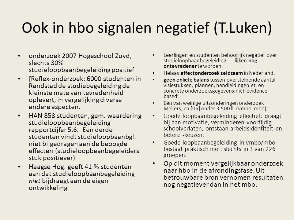 Ook in hbo signalen negatief (T.Luken)