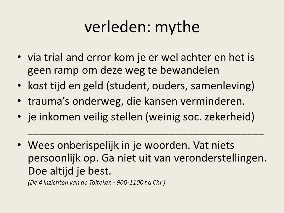 verleden: mythe via trial and error kom je er wel achter en het is geen ramp om deze weg te bewandelen.