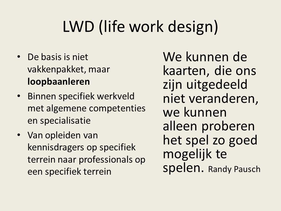 LWD (life work design) De basis is niet vakkenpakket, maar loopbaanleren. Binnen specifiek werkveld met algemene competenties en specialisatie.